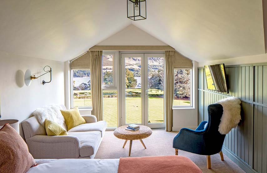 A family suite bedroom with views of Ullswater