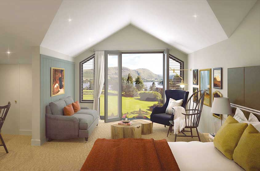 CGI of one of the new bedrooms at Another Place on the shores of Ullswater