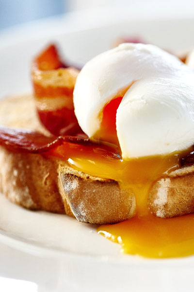Poached eggs and bacon on toast for breakfast at Another Place, The Lake - a new hotel in the Lake District