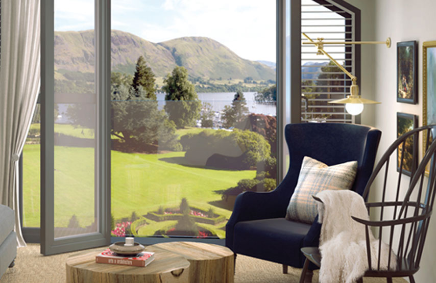 CGI of the stunning views of Ullswater from one of the new hotel bedrooms at Another Place, The Lake