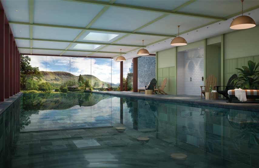 CGI of the swimming pool in Swim Club at the new Another Place hotel on the shores of Ullswater