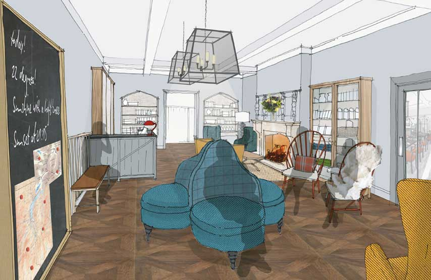 Artist's impression of the entrance hall at Another Place, a new hotel beside Ullswater in the Lake District