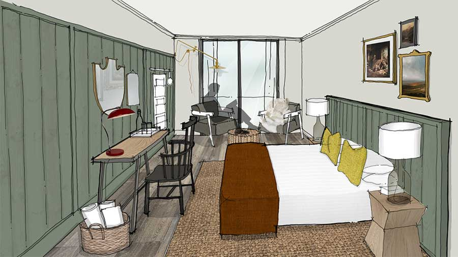 Artist's impression of a new bedroom at Another Place, a hotel in the Lake District