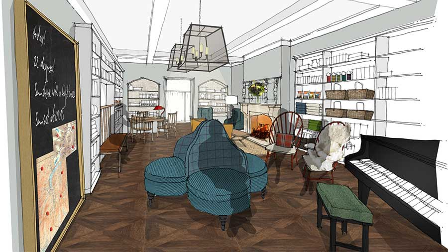 Artist's impression of the entrance hall at Another Place, a new hotel in the Lake District