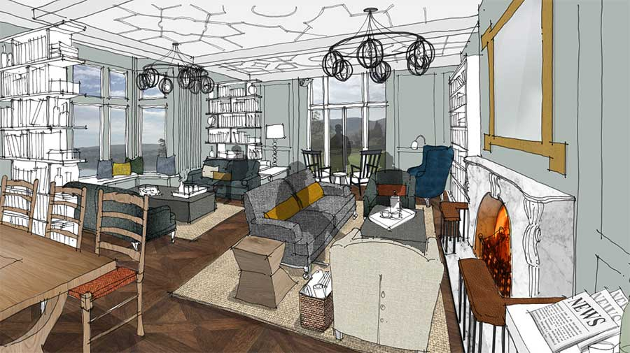 Artist's impression of the library at Another Place, a new hotel in the Lake District