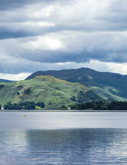 Dramatic skies and looking down on Ullswater from the fells