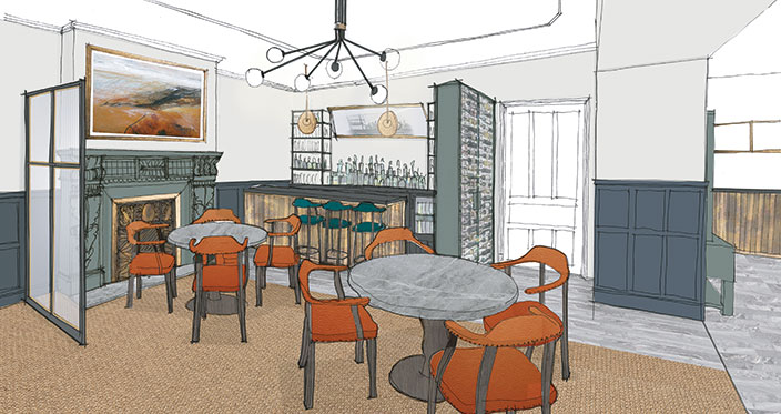 An artist's impression of the restaurant bar at Another Place, a new hotel in the Lake District