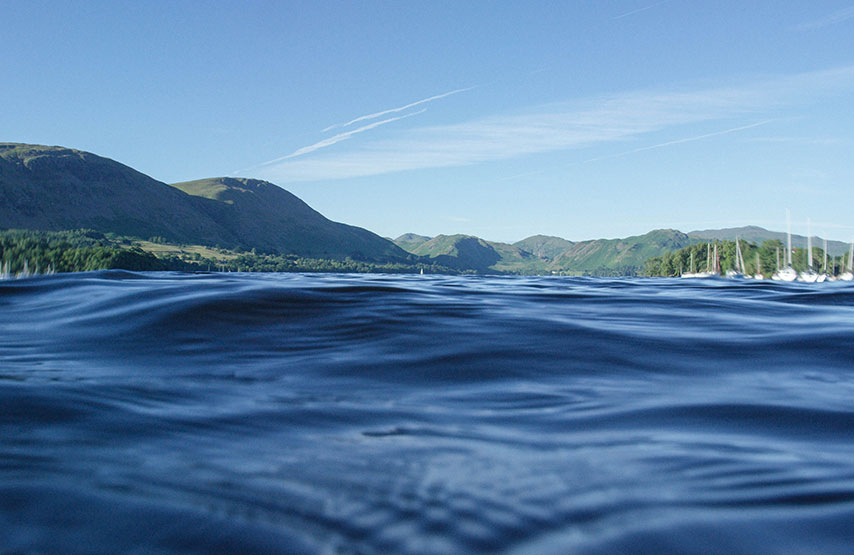 Surface view of Ullswater lake