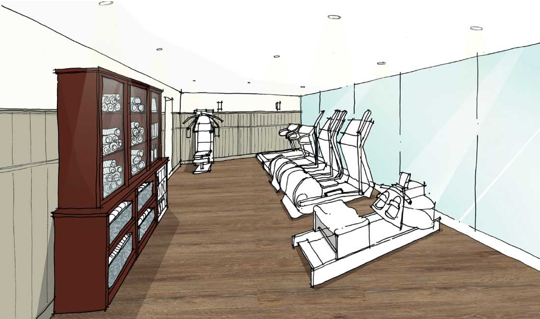 Artist's impression of the cardio room in Swim Club at Another Place, a new hotel in the Lakes