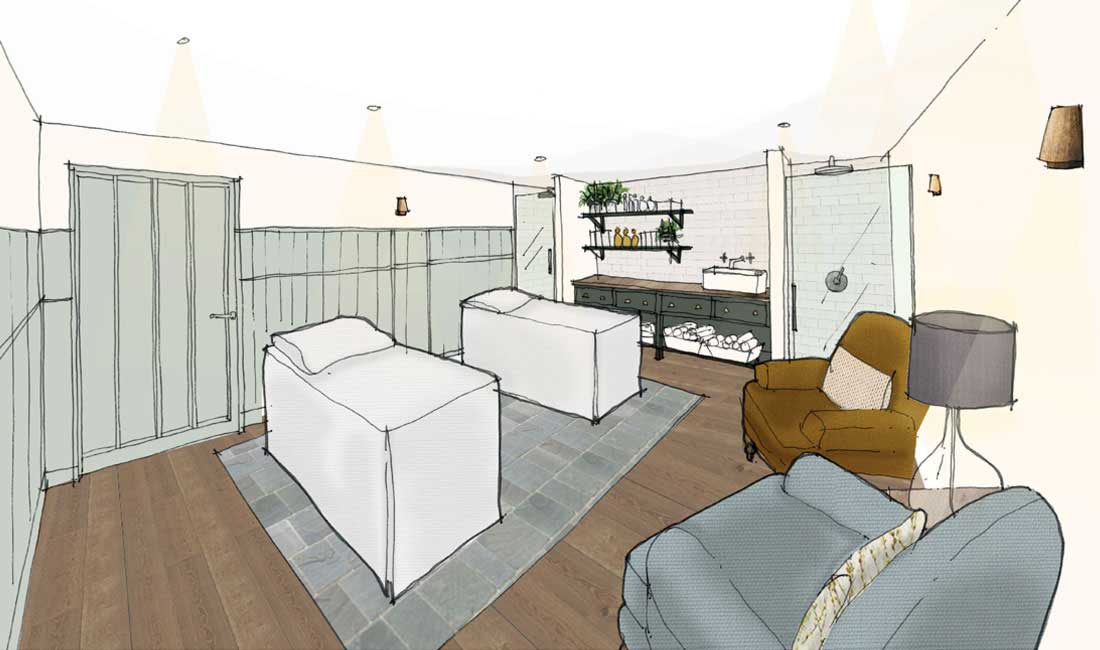 An artist's impression of a double treatment room in Swim Club at Another Place, The Lake - a new hotel in the Lake District