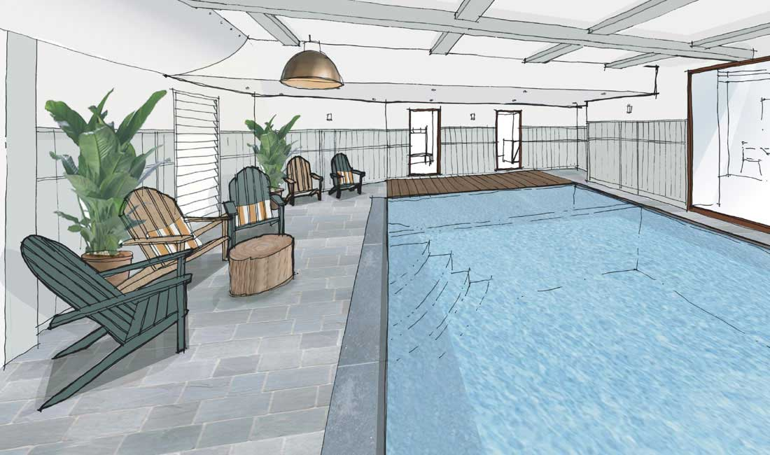 An artist's impression of Swim Club at Another Place, a new hotel in the Lake District