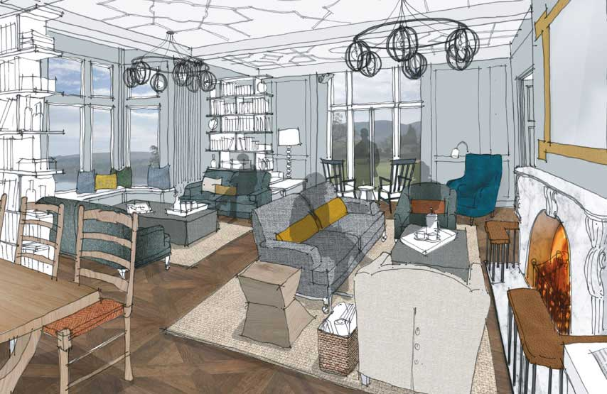 Artist's impression of the library at Another Place, a new hotel beside Ullswater in the Lake District