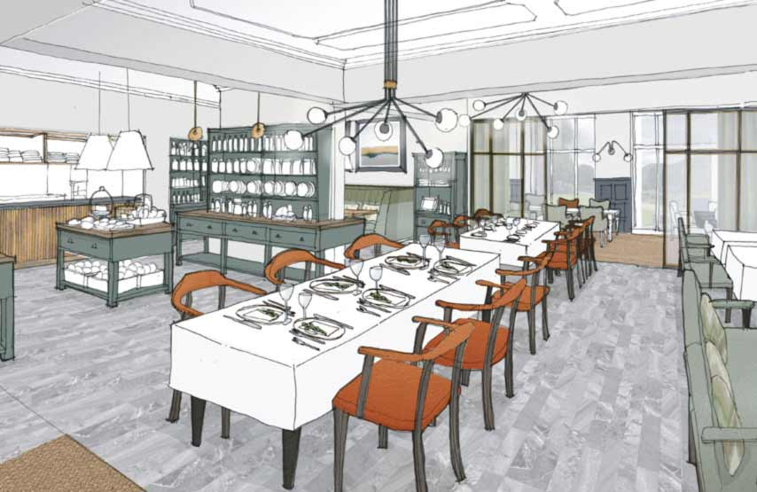 An artist's impression of the restaurant at Another Place, a new hotel in the Lake District