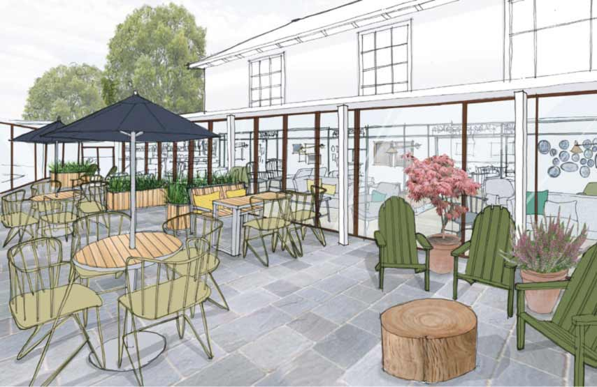 An artist's impression of the terrace at Another Place, a new hotel in the Lake District