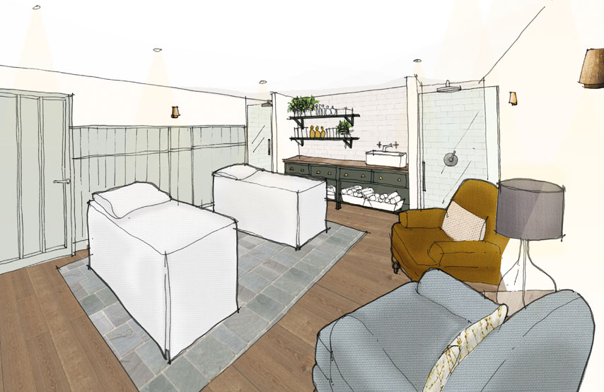 An artist's impression of a double treatment room in Swim Club at Another Place, a new hotel in the Lake District