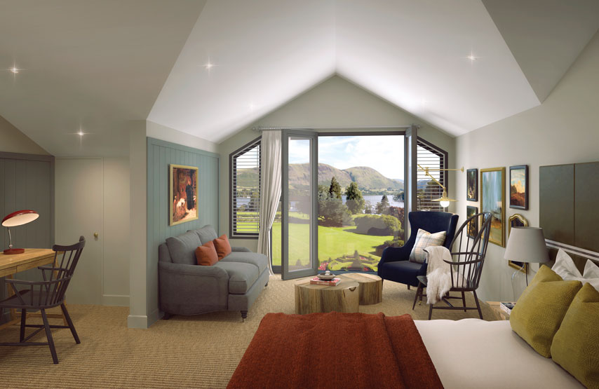 CGI of one of the new bedrooms at Another Place, a hotel on the shores of Ullswater