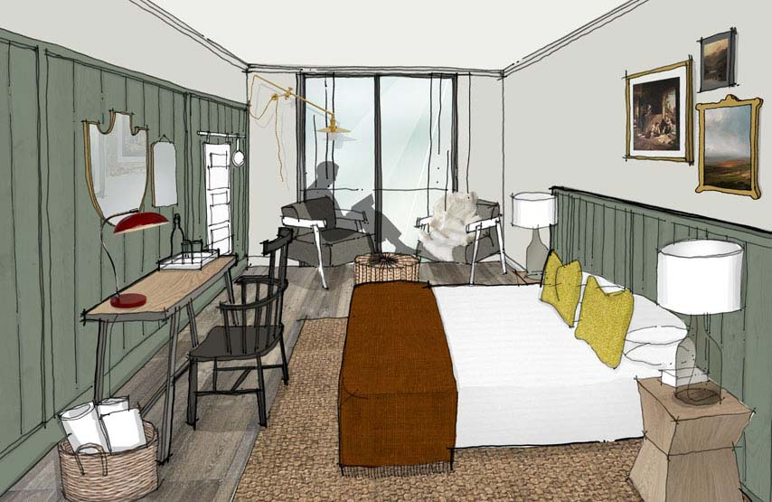 Artist's impression of a new bedroom at Another Place - a hotel in the Lake District