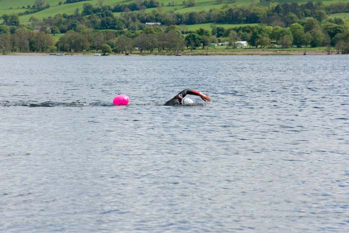 Man swimming front crawl in Ullswater