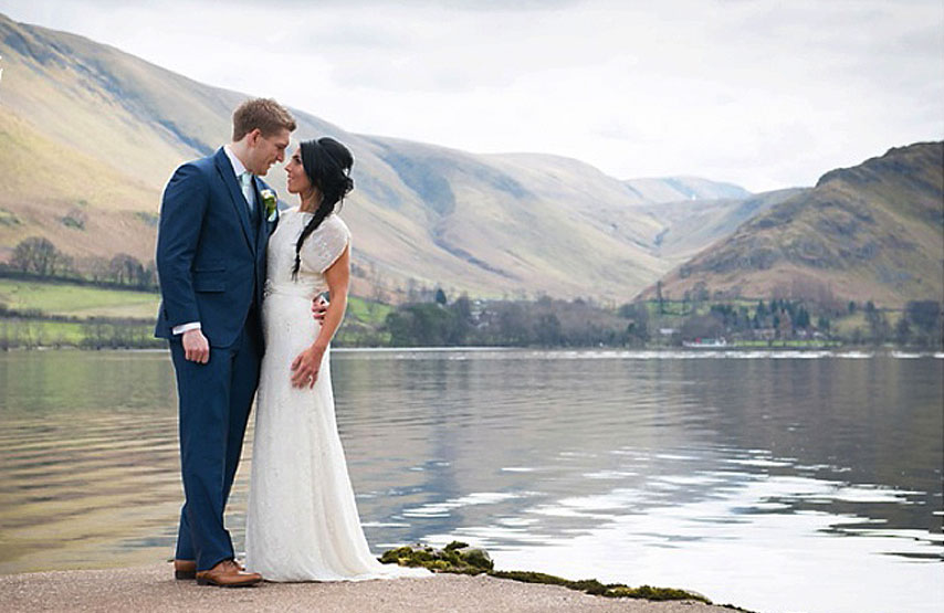 Bride and groom on their wedding day at Another Place, The Lake, a new hotel beside Ullswater