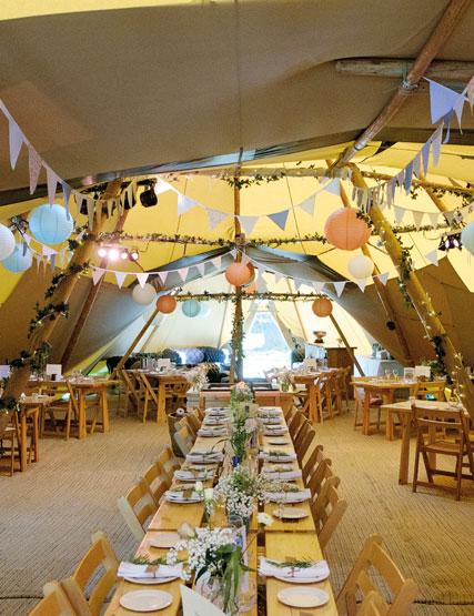Tipi interior set up for a wedding at Another Place, The Lake - a new Lake District wedding venue