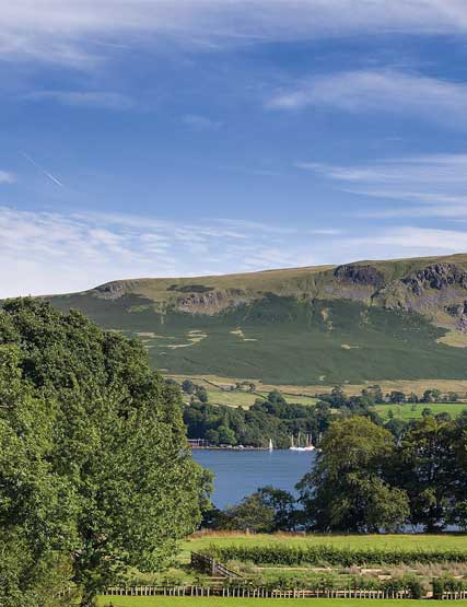 Ullswater and the fells as a backdrop on a sunny day