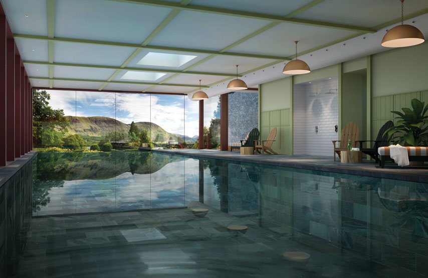 CGI of the swimming pool in Swim Club at Another Place, The Lake - a new hotel in on the shores of Ullswater