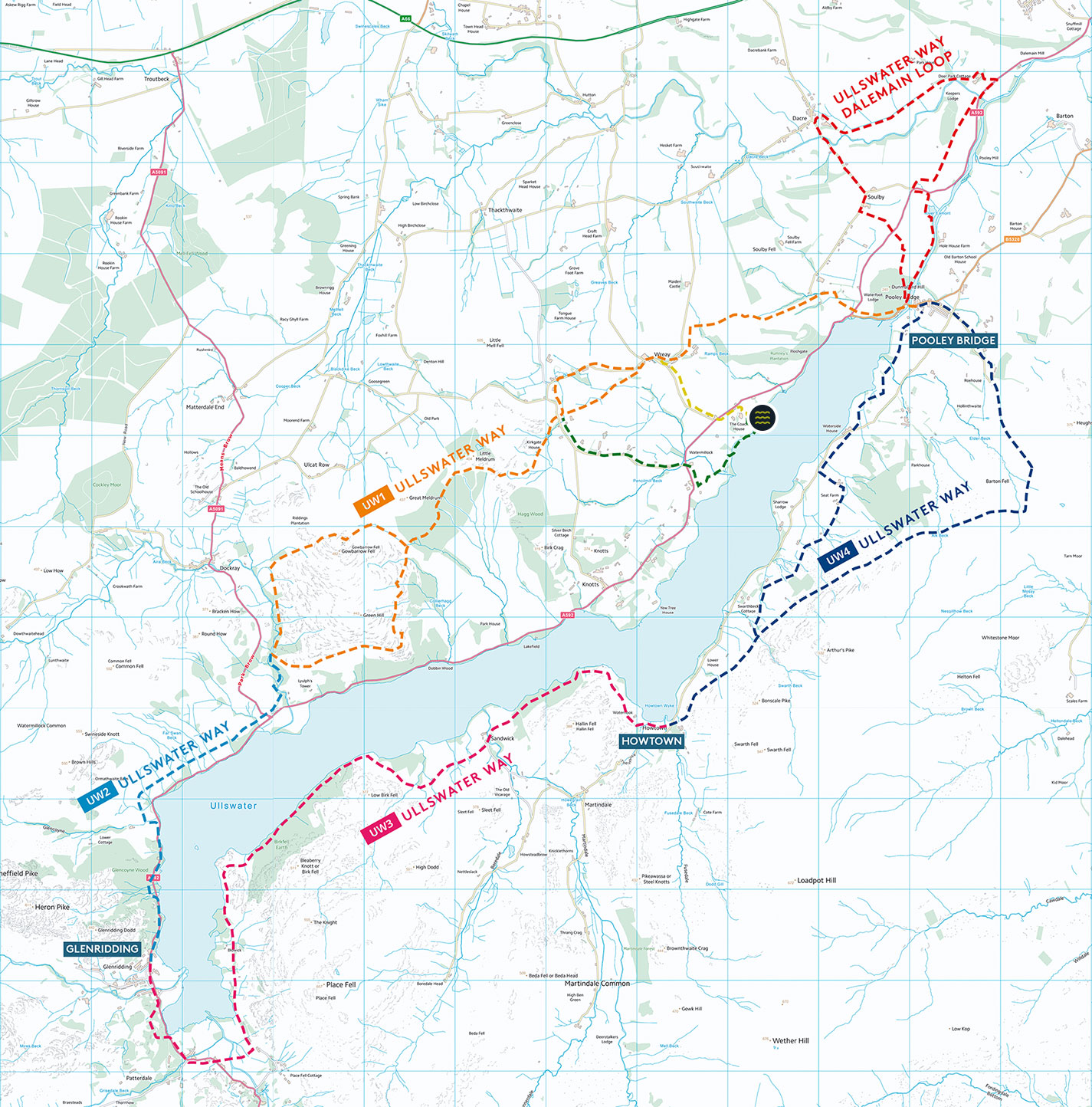 Map of the Ullswater Way showing marked running routes