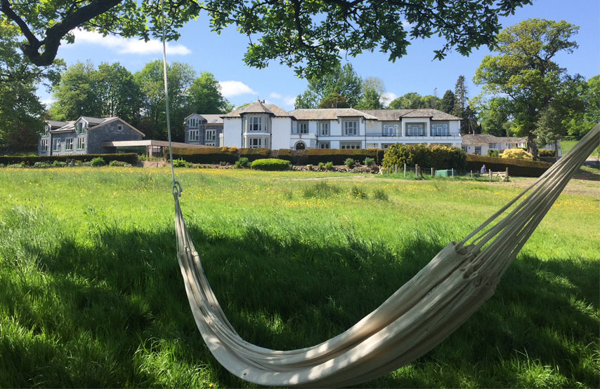 Hammock in the grounds of the hotel in summertime