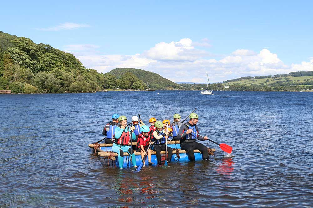 Raft building for families on the lake