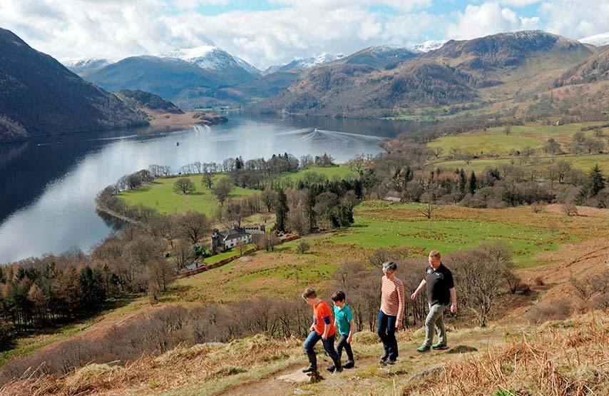 Family walking on the Ullswater Way