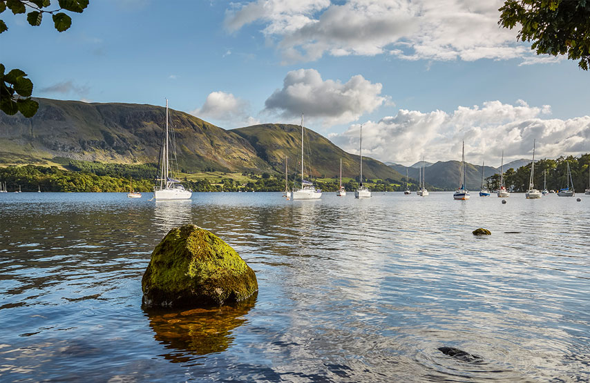 Yachts moored on Ullswater