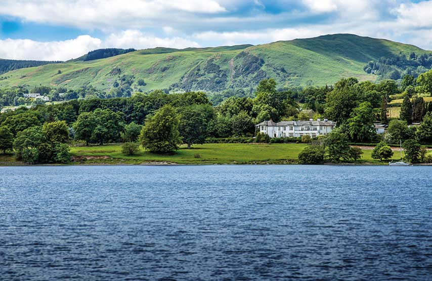 View of the new hotel. Another Place, The Lake, from the other side of Ullswater