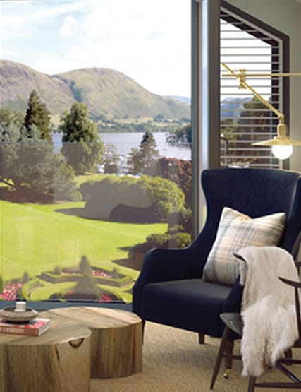 Bedroom with stunning views over Ullswater towards the fells at Another Place, The Lake