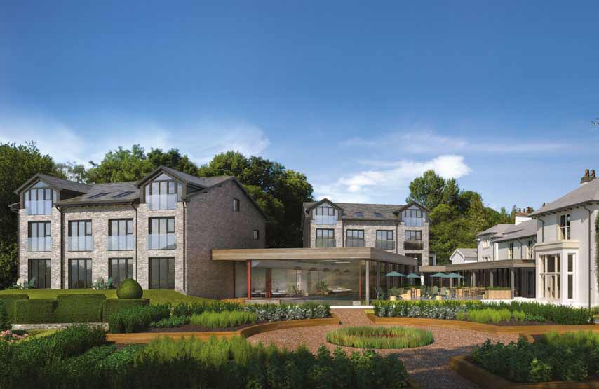 CGI of Another Place, The Lake's hotel exterior and landscaped gardens