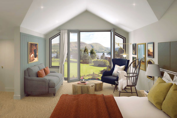 CGI of the new hotel bedrooms with views over Ullswater from a Juliet balcony