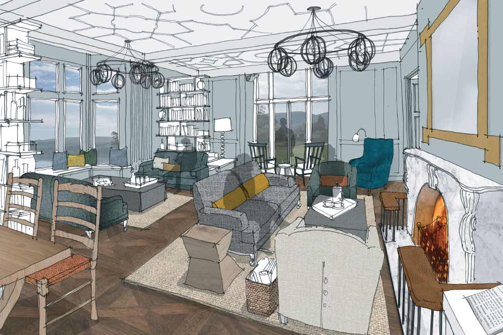 An artist's impression of the library at Another Place, a new hotel in the Lake District