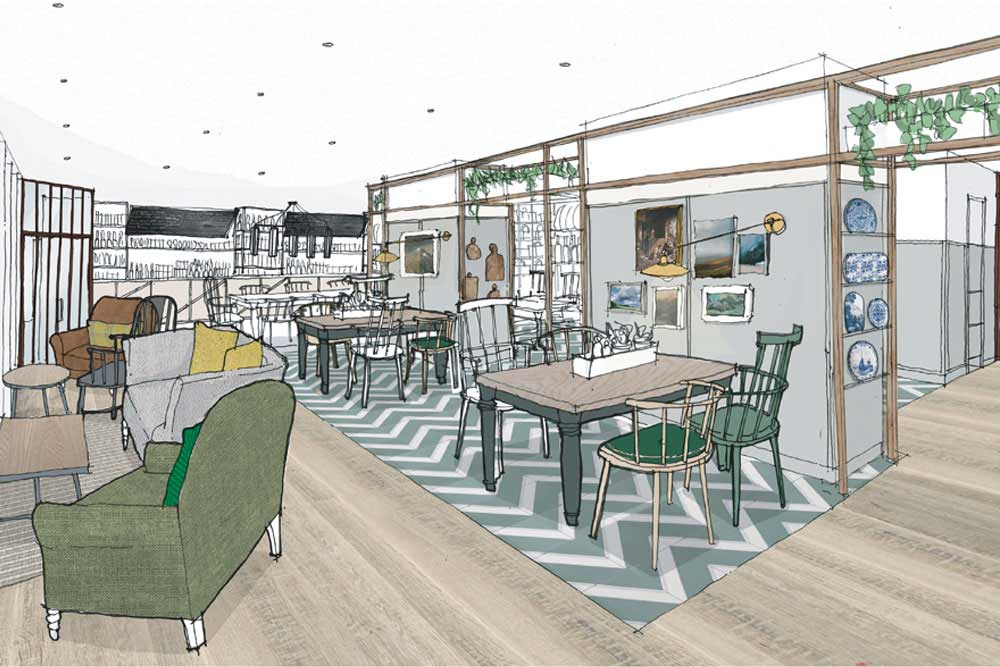 An artist's impression of The Living Space at Another Place, a new hotel in the Lake District