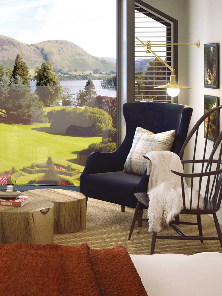 A view of Ullswater from one of the hotel's new bedrooms at Another Place, The Lake