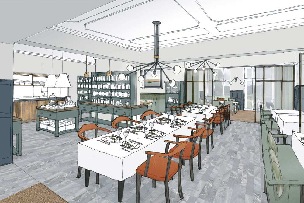 An artist's impression of the open-kitchen restaurant at Another Place, a new hotel in the Lake District