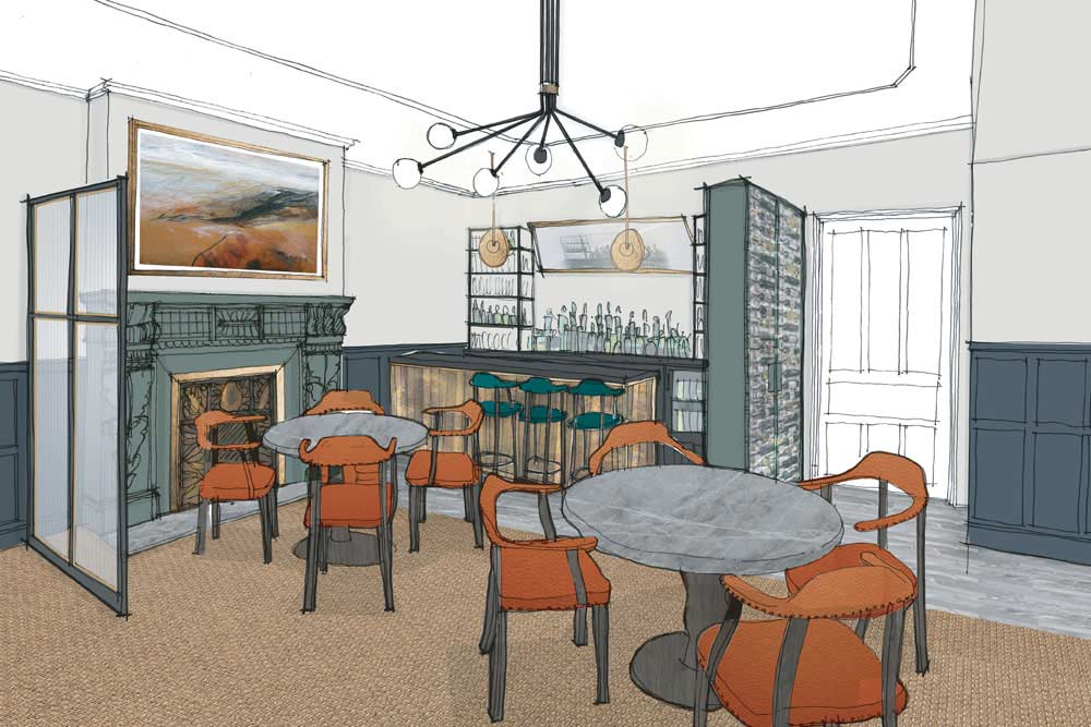 An artist's impression of the restaurant bar at Another Place in the Lake District