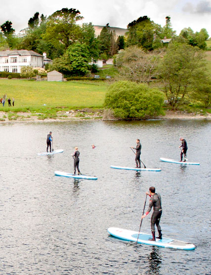 Stand up paddle boarders on Ullswater in the Lake District