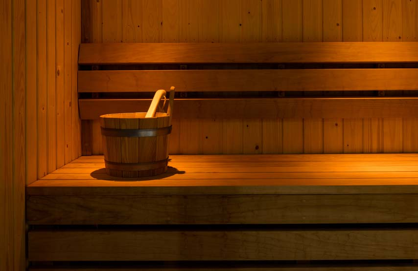 The poolside sauna in Swim Club