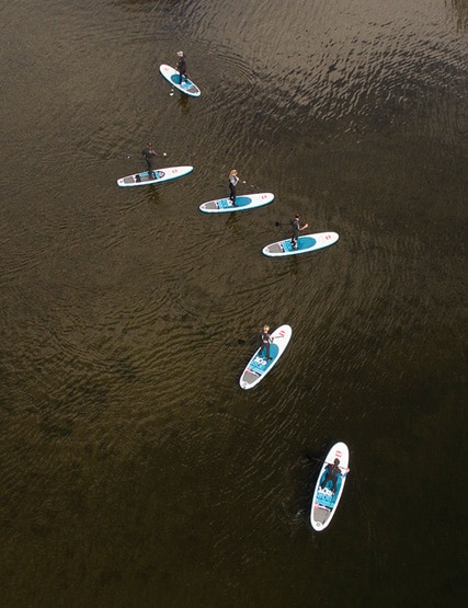 Birds eye view of stand up paddle boarders on Ullswater in the Lake District