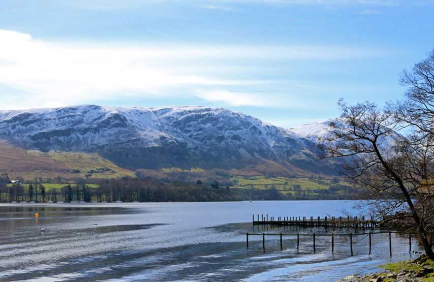 Snow covered fells above Ullswater in the Lake District