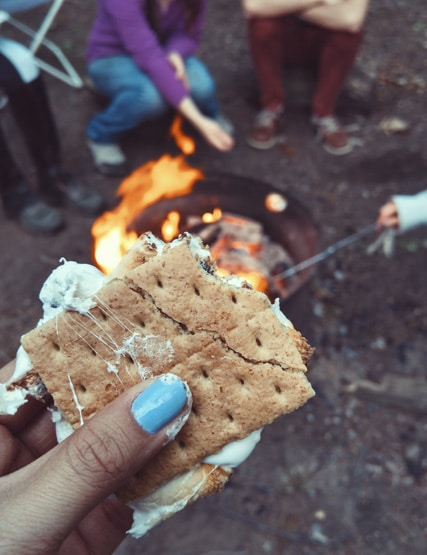 Peanut butter and marshmallow toastie by the fire at Another Place, The Lake