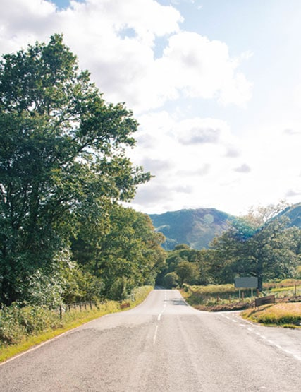 Looking down a road in the Lake District