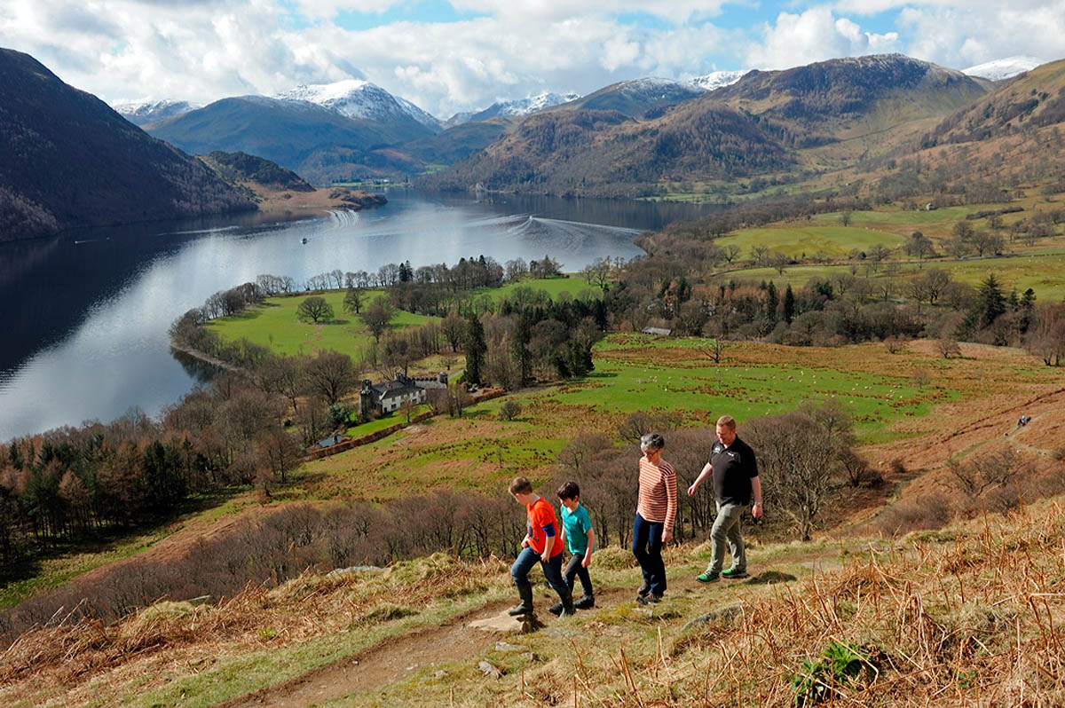 Walkers on the Ullswater Way at Gowbarrow. Photo: Val Corbett