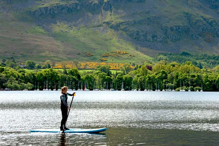 Stand up paddle boarding on Ullswater - one the activities available at the new hotel, Another Place, The Lake
