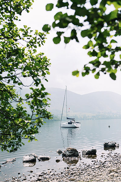 A sailing boat moored on Ullswater