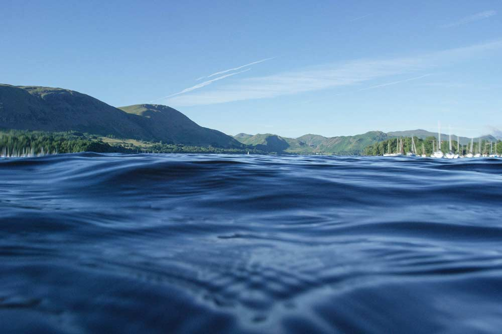 Surface view of Ullswater on a sunny day